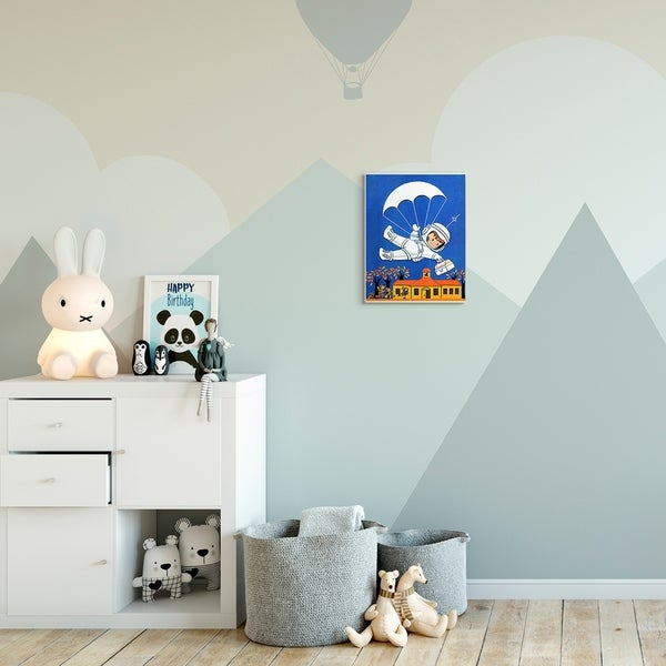 The Kids Room by Stupell Space Landing Cartoon Kids Nursery Painting Wood Wall Art, Proudly Made in USA