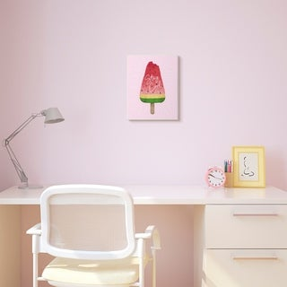 The Kids Room by Stupell Stay Cool Watermelon Ice Cream Pink Red Kids Nursery Design Wood Wall Art, Proudly Made in USA
