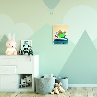 The Kids Room by Stupell Animal Sailors Cartoon Green Yellow Kids Nursery Painting Wood Wall Art, Proudly Made in USA