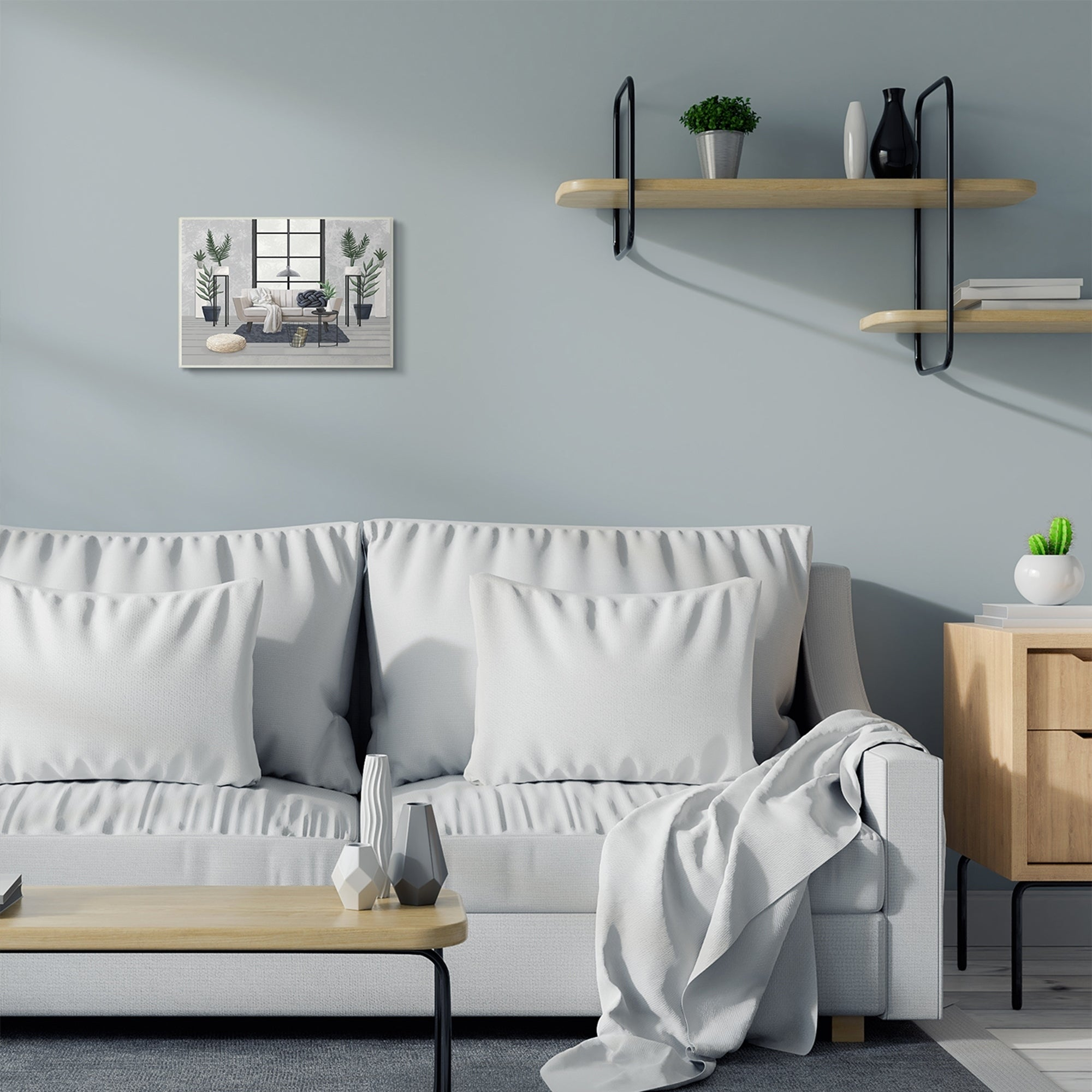Stupell Industries Modern Living Room Interior Design Blue Grey Painting Wood Wall Art Proudly Made In Usa On Sale Overstock 29740030