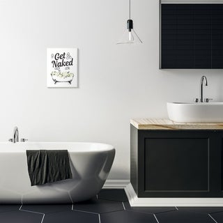 Stupell Industries Get Naked Bath Tub Bathroom Word Design Wood Wall Art, Proudly Made in USA