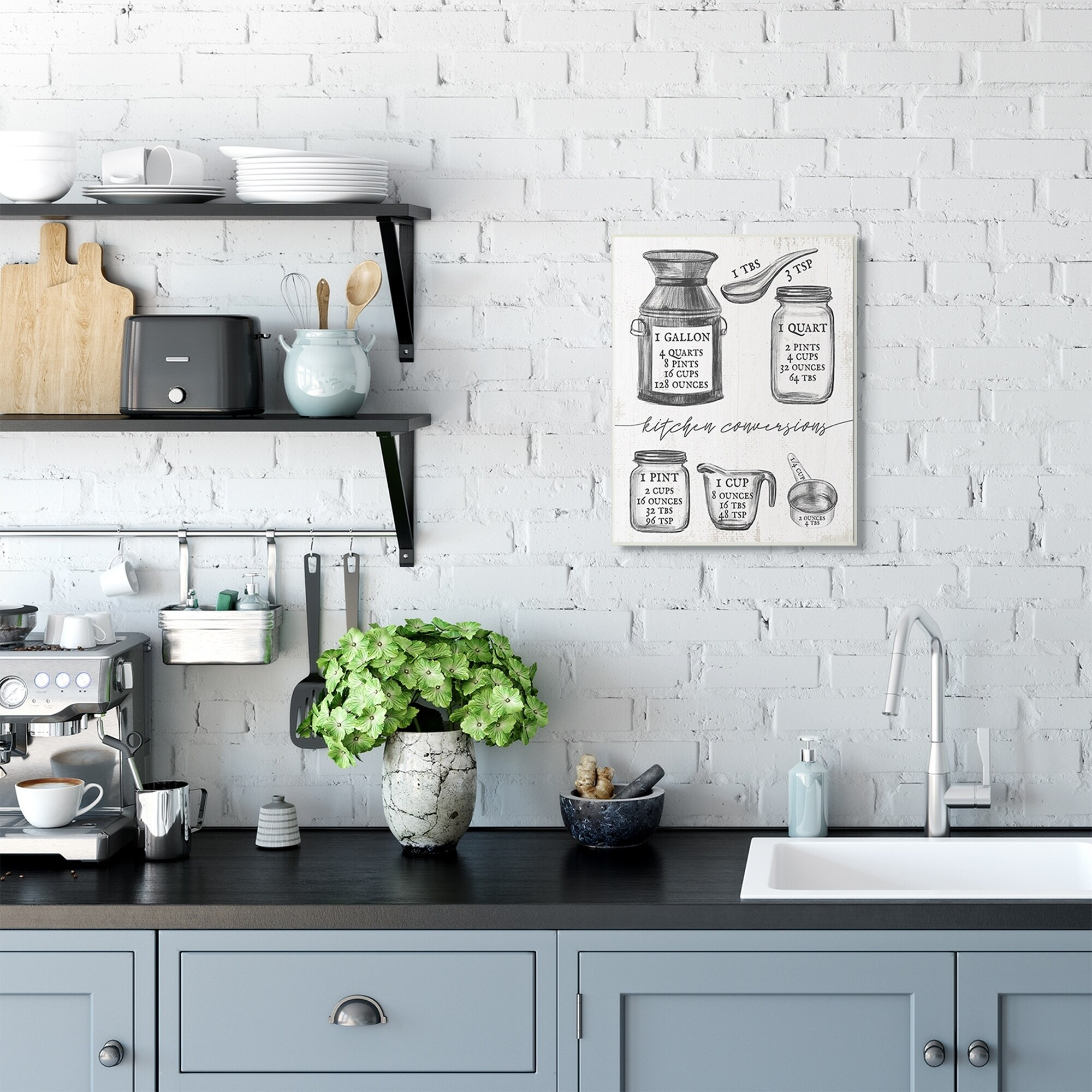 Stupell Industries Kitchen Conversion Chart Neutral Grey Word Drawing Design Wood Wall Art Proudly Made In Usa Overstock 29740057 10 X 15
