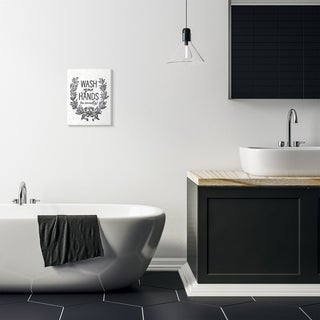 Stupell Industries Wash Your Hands Seriously Elegant Bathroom Word Design Wood Wall Art, Proudly Made in USA