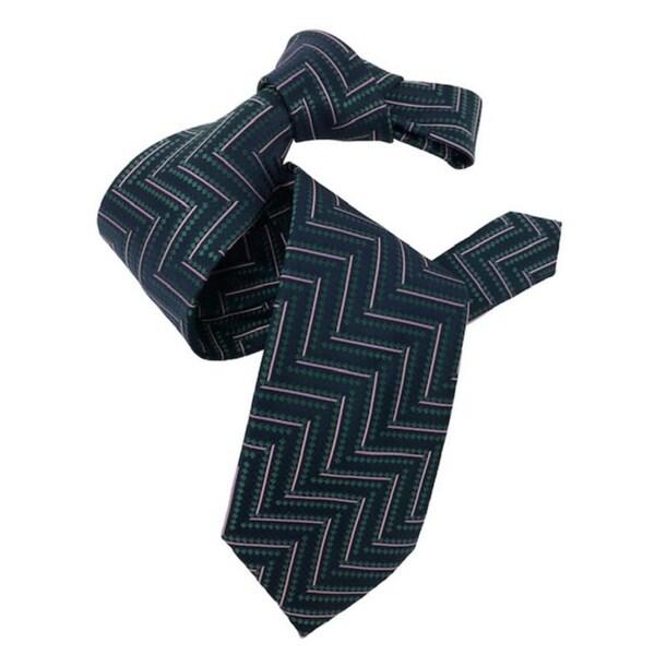 DMITRY 7-Fold Navy Patterned Italian Silk Tie
