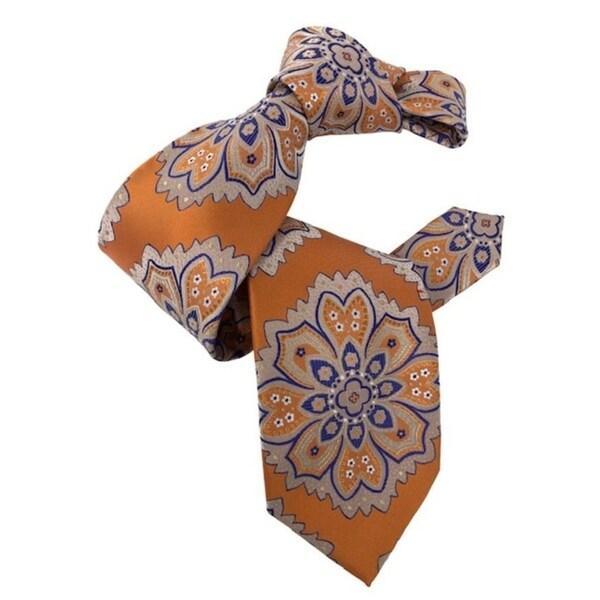 DMITRY 7-Fold Orange Patterned Italian Silk Tie