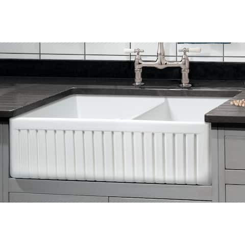 "Sutton Place Fireclay 33"" L x 18"" W Double Basin Farmhouse Kitchen Sink In White"