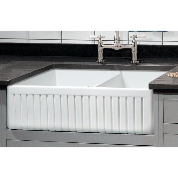 "Sutton Place Fireclay 33"" L x 18"" W Double Basin Farmhouse Kitchen Sink In White"