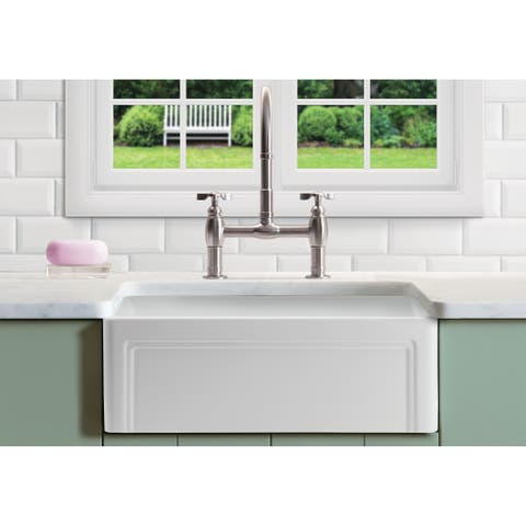 """Olde London Fireclay 33"""" L x 18"""" W Single Basin Farmhouse Kitchen Sink In White"""