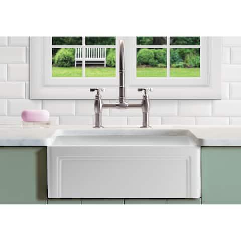 """Olde London Fireclay 27"""" L x 18"""" W Single Basin Farmhouse Kitchen Sink In White"""