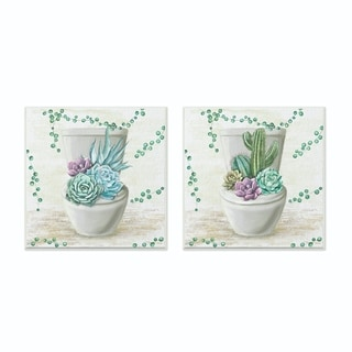Stupell Industries Bathroom Succulents On Toilet Paintings Wood Wall Art,12x12,Proudly Made in USA