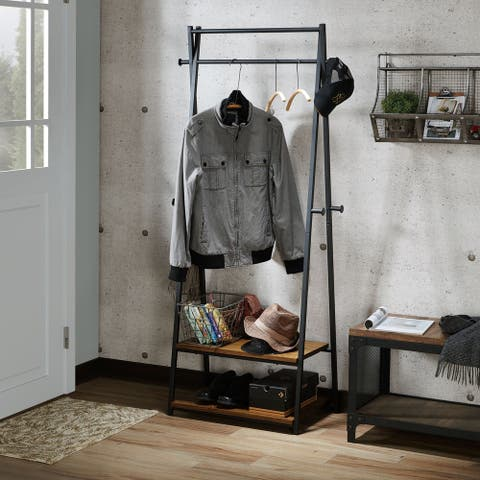 Rachelle Industrial Warm Oak Finish Coat Rack
