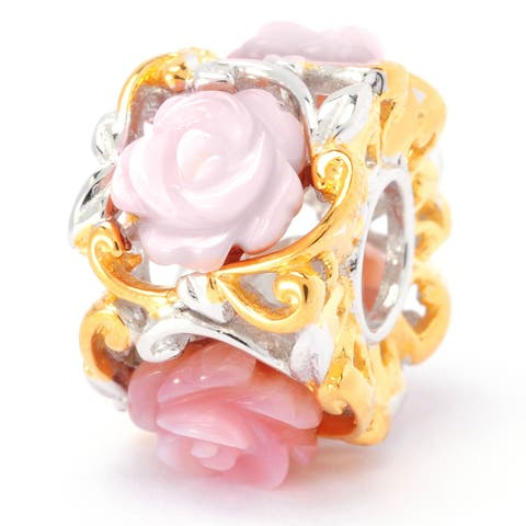Michael Valitutti Palladium Silver Mother-of-Pearl Carved Roses Slide-on Charm