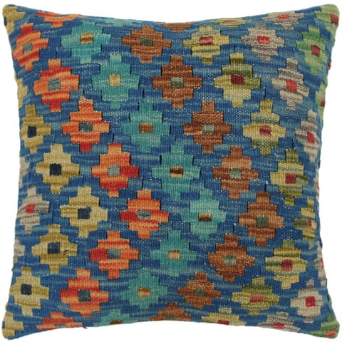 Caron Blue/Orange Hand-Woven Kilim Throw Pillow - 1'6 x 1'6
