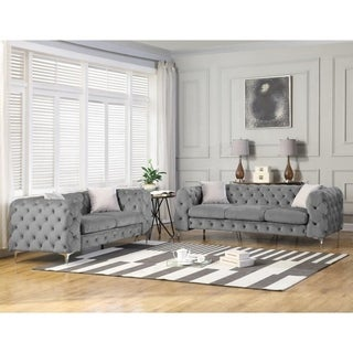 Best Master Furniture Tufted Velvet Upholstered 2 Pieces Sofa and Love