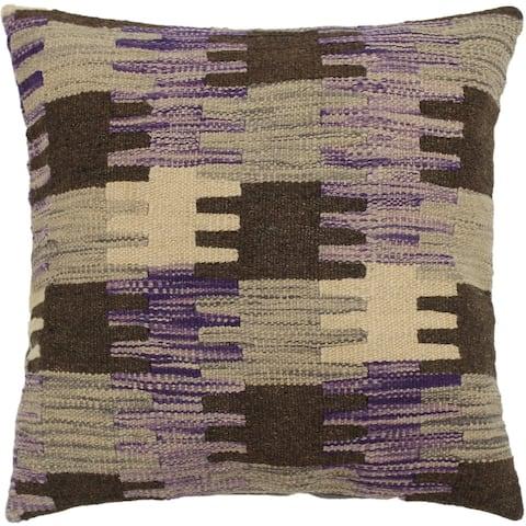 Trinity Purple/Gray Hand-Woven Kilim Throw Pillow - 1'6 x 1'6