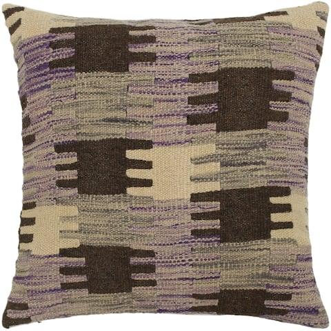 Alaine Purple/Gray Hand-Woven Kilim Throw Pillow - 1'6 x 1'6