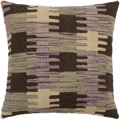 Marleen Purple/Gray Hand-Woven Kilim Throw Pillow - 1'6 x 1'6