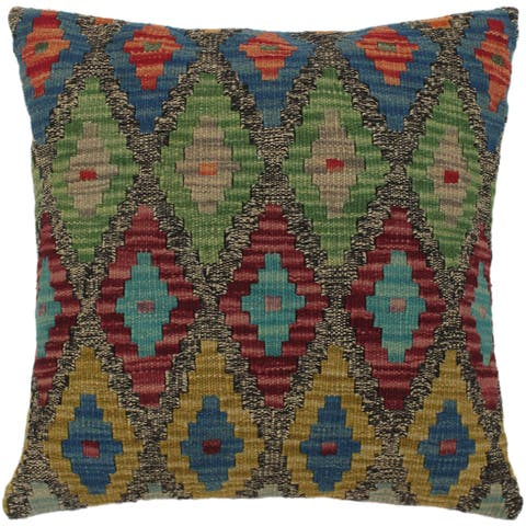 Bula Gray/Green Hand-Woven Kilim Throw Pillow - 1'6 x 1'6
