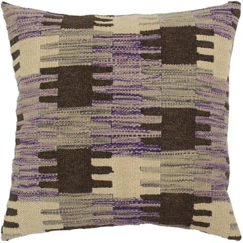 Vernon Purple/Gray Hand-Woven Kilim Throw Pillow - 1'6 x 1'6