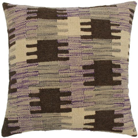 Shona Purple/Gray Hand-Woven Kilim Throw Pillow - 1'6 x 1'6