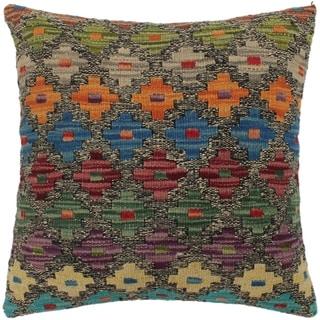 Pia Gray/Purple Hand-Woven Kilim Throw Pillow - 1'6 x 1'6