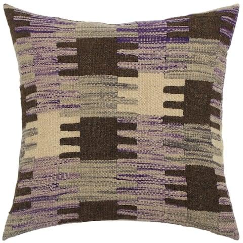 Boho Chic Romelia Purple/Gray Hand-Woven Kilim Throw Pillow 1'6 x 1'6