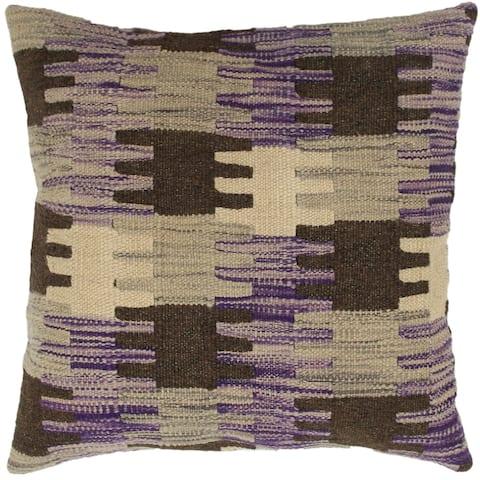 Britany Purple/Gray Hand-Woven Kilim Throw Pillow - 1'6 x 1'6