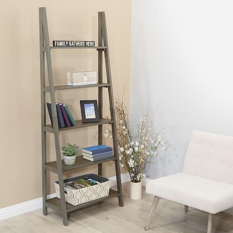 The Gray Barn Fox Crossing Grey Washed Ladder Bookcase