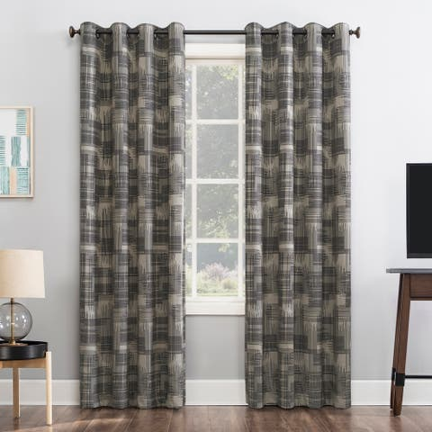 Sun Zero Marcus Crosshatch Thermal Extreme 100% Total Blackout Grommet Curtain Panel