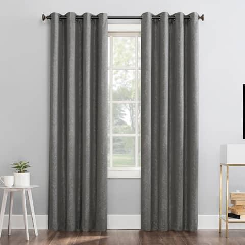 Sun Zero Peyton Distressed Chevron Thermal Extreme 100% Total Blackout Grommet Curtain Panel