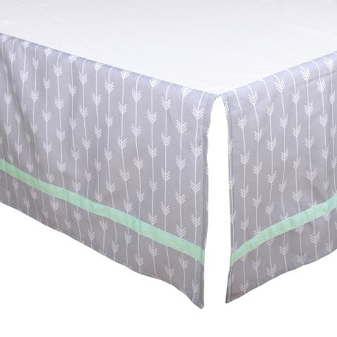The Peanut Shell Arrow Print Tailored Crib Dust Ruffle in Mint/Grey