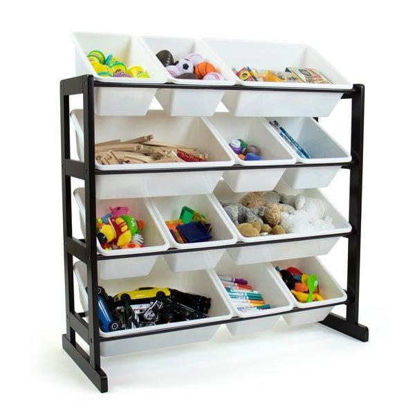 Humble Crew Espresso Ladder Toy Storage Organizer with 12 Storage Bins