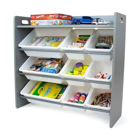 Humble Crew Inspire Grey Toy Organizer with Shelf and 9 Storage Bins