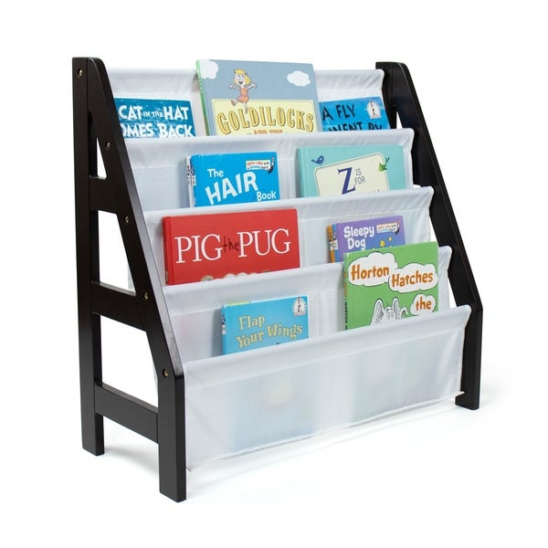 Humble Crew Espresso Kids Ladder Bookshelf 4 Tier Book Organizer