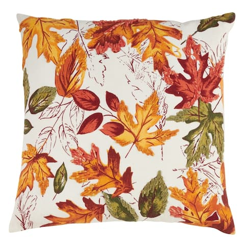 Embroidered Autumn Leaves Throw Pillow