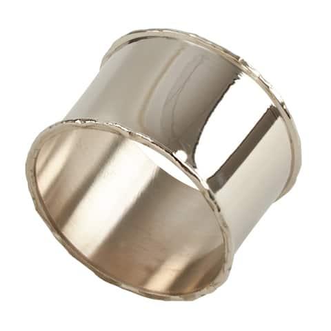 Metal Napkin Rings with Silver Rim Design (Set of 4)