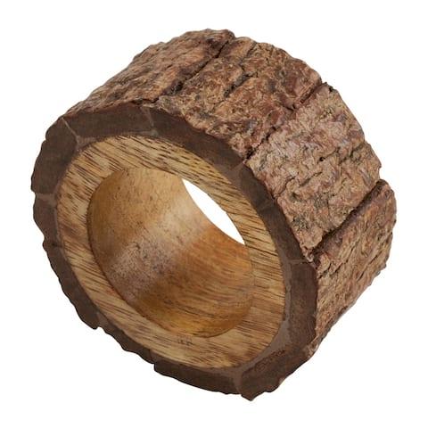 Bark Design Wooden Napkin Rings (Set of 4)