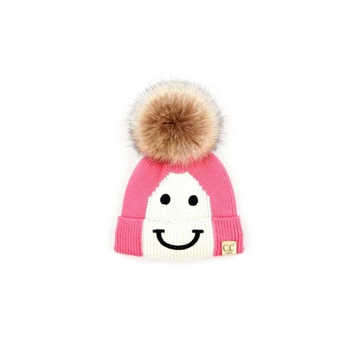 CC Kids Smile Face Faux Fur Pom Pom Knit Beanie