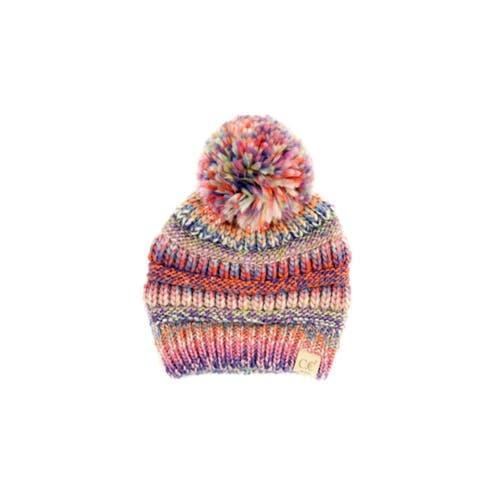 CC Kids Pom Pom Multicolored Knit Beanie