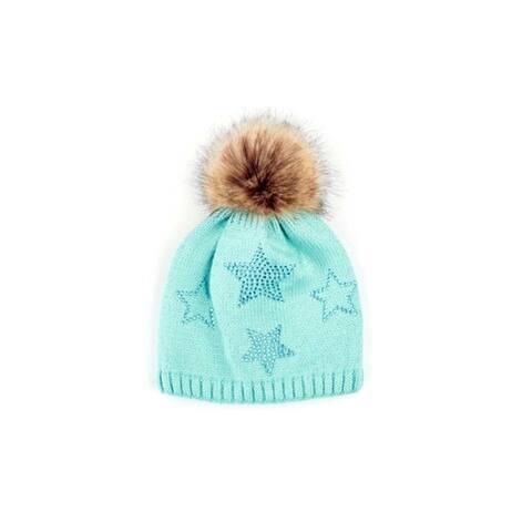 CC Kids Faux Fur Pom Pom Beanie Rhinestone Star Pattern Knit Beanie