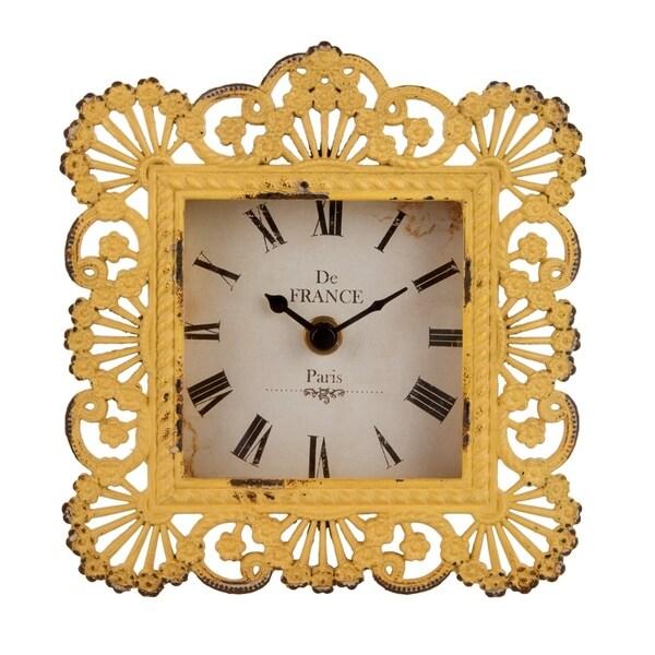 Antique Yellow Flourish Metal Table Clock with Clock