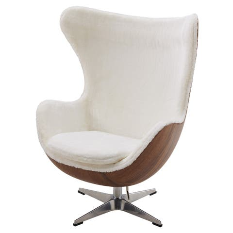 Axis Faux-Fur Swivel Rocker Chair