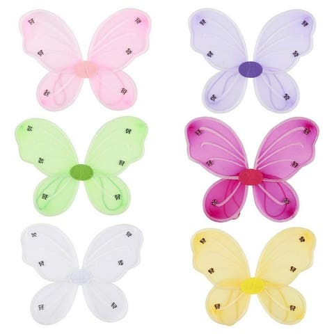 6 Pack Girls Butterfly Fairy Costume Wings for Kids Pretend Play in 6 Colors