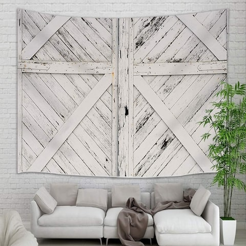 """Old Rustic White Painted Barn Doors Tapestry 71"""" x 60"""""""