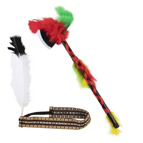 Native American Feather Elastic Headband with Hatchet - Tribal Costume Accessory