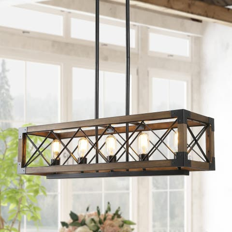 "Farmhouse Lighting Wooden Chandelier with 5 Lights for Kitchen Island - L31.5""xW10""xH10"""