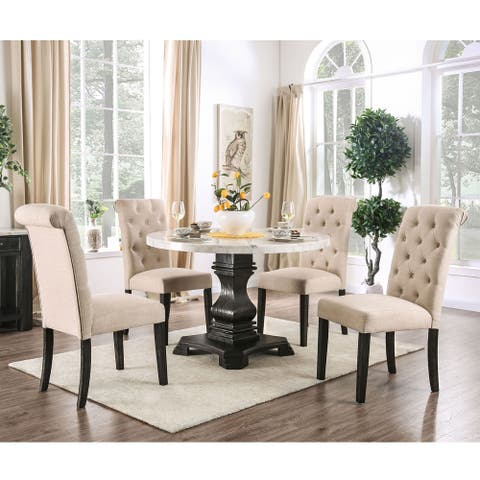 Furniture of America Brec Rustic Solid Wood 5-piece Round Dining Set