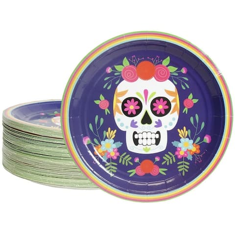 80-Count Disposable Paper Plates, Dia De Los Muertos Skull Design, 9 Inches