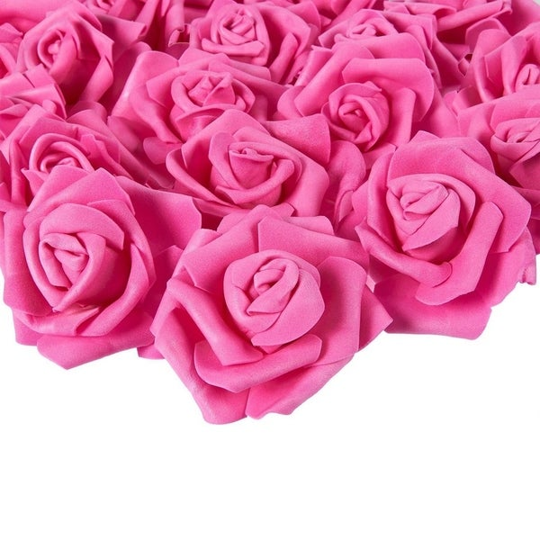 100-Pack Deep Pink Rose Artificial Flower Heads for Wedding Home Decorations