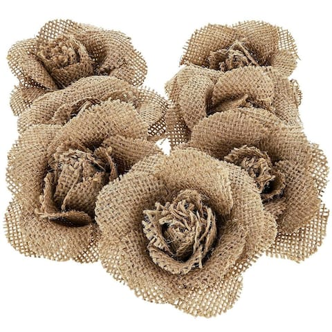 12-Pack Handmade Jute Burlap Rose Flowers for DIY Crafts, 3 Inches - 3 Inches